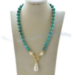 10mm Green Turquoise Natural White Keshi Baroque Pearl Pendant Necklace 16-28and039and039