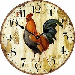 Skjind Vintage Rooster Farmhouse Non-ticking Kitchen Wall Clocks - 30cm Wood