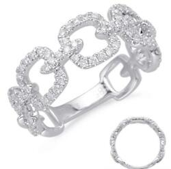Wide .47ct Diamond 14kt White Gold 3d Square Love Knot 3/4th Eternity Fun Ring