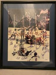 Miracle On Ice Team 21x Signed And Framed 16x20 Photo Jsa Loa Herb Brooks