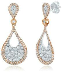 Estate 1.29ct Diamond 14kt White Gold Cluster Classic Tear Drop Hanging Earrings