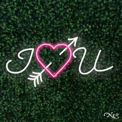 New 'i Heart You 32x16 Led Flex Wall Sign Color Options And Remote Lf155