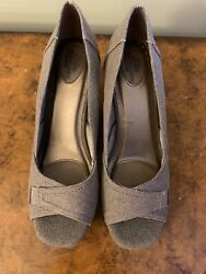 Life Stride Fabric Open-toe Wedge Size 10