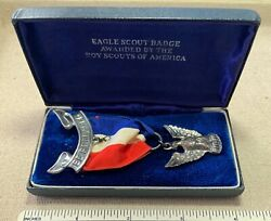 Vintage 1950s Eagle Scout Boy Scouts Rank Medal And Case Bsa Award Badge Sterling