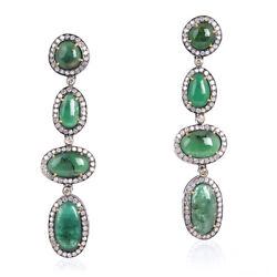 18.5ct Emerald Dangle Earrings 18k Gold Pave Diamond 925 Sterling Silver Jewelry