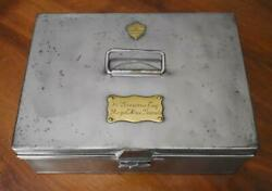 Antique English Hawkes And Co. London Hand Forged Safe Keeping Personal Papers Box