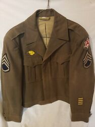 Vintage Wwll Us Army Wool Coat/us Army Staff Sergeant/6th Army Pacific Theater