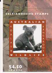 1994 Koala's And Kangaroos Stamp Booklet Sb85 1k - All Stamps Are Imperforated