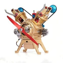 Mini V2 Dual Cylinder Engine Model Can Launch Non-stirling Assembling Toy Scienc