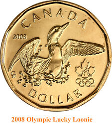 Set Of Two Canadian Olympic Lucky Loonie Coins 2008 And 2014 Unc.