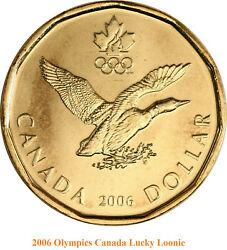 Set Of Two Canadian Olympic Lucky Loonie Coins 2006 , 2014 Unc.
