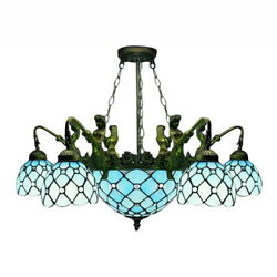 Baroque Style Large Chandelier Stained Glass Pendant Ceiling Lighting Fixture