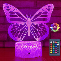 Butterfly 3d Illusion Lamp Led Night Light 16 Color Changing Kids Xmas Gift Toy