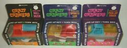 Rare Vintage Crazy Crawlers Bull Dozer Sports Car Pick Up Truck Wind Up Toy
