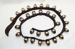 Set Of 31 Unusual Antique Brass Clam Shaped Jingle Sleigh Bells On Leather Strap