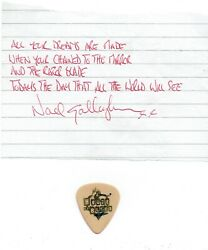 Oasis Noel Gallagher Signed Lyrics And Used Pick From Morning Glory Aftal/uacc Rd