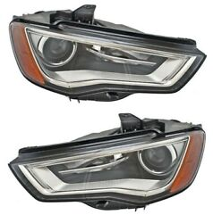 Hella Pair Set Of Front Left And Right Xenon Headlights For Audi A3 2015-2016
