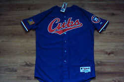 Chicago Cubs 1994 New Mlb Majestic Authentic Tbtc Game Jersey With Special Patch