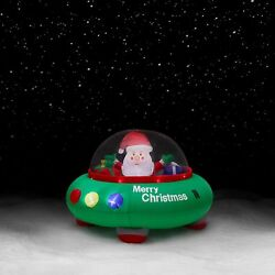 Trim A Home 5ft Santa In Flying Saucer Inflatable Christmas Outdoor Decoration