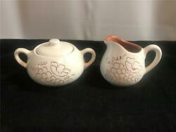 Stangl China Sgraffito Covered Sugar Bowl And Creamer Outlined Fruit