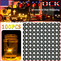 100x Smoked Amber Truck Trailer Bullet Light Round Led Marker Clearance Lights
