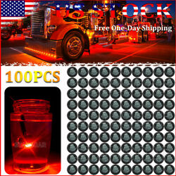100x 3/4 Smoke Side Marker Lights Red Led Button Truck Trailer Clearance Light