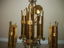 Italian Tole Arts And Crafts Gilt Chandelier Sconce Set Murano French Farmhouse