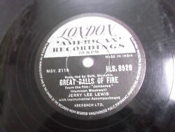 Jerry Lee Lewis Great Balls Fire/mean Woman India Indian Rare 78 Rpm Record G+