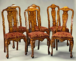 An Exquisite Set Of Six Dutch Style Marquetry Dining Chairs.