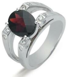 Estate 3.28ct Diamond And Aaa Garnet 14kt White Gold Oval And Round Etoile Fun Ring