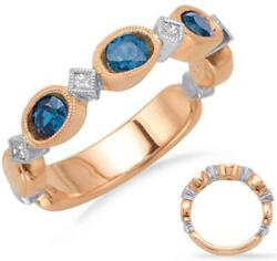 .69ct Diamond And Aaa Sapphire 14kt White And Rose Gold 3d Filigree Anniversary Ring
