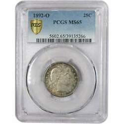 1892 O Barber Quarter Ms 65 Pcgs 90 Silver 25c Us Type Coin Collectible