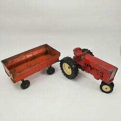 Vintage Toys Ertl Tractor And Hay Wagon Stamped / Die Cast Steel For Restoration