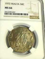 1972 Malta 50 Cents Great Siege Monument Ngc Ms-66 Top Pop