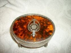 Antique Silver Plated Faux Tortoise Shell Inlay Jewelry Casket French Farmhouse