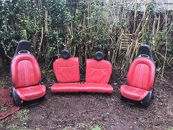 Fiat 500 Abarth 595 Interior Full Seats And Door Cards. Red Leather