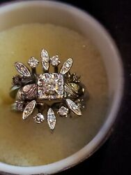 Vintage Pre Wwii Hand-crafted 14k Gold Solitaire Cut 14 Diamond Accents