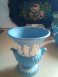 Wedgewood Jasperware Beautiful Blue Small Vase With Carved Images..
