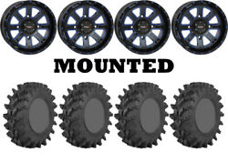 Kit 4 Sti Outback Max Tires 35x9-20 On System 3 St-4 Blue Wheels Hp1k