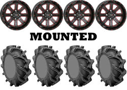 Kit 4 High Lifter Outlaw 3 Tires 35x9-20 On System 3 St-4 Red Wheels Pol
