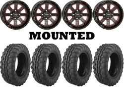 Kit 4 Moose 8-ball Tires 26x9-14/26x11-14 On System 3 St-4 Red Wheels 1kxp