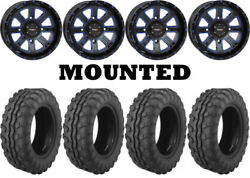 Kit 4 Moose 8-ball Tires 26x9-14/26x11-14 On System 3 St-4 Blue Wheels Ter