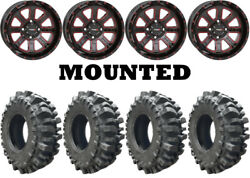 Kit 4 Interco Bogger Utv Tires 33x9.5-20 On System 3 St-4 Red Wheels Can