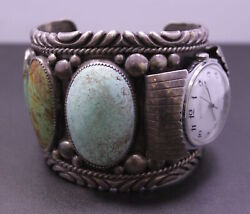 Vintage Heavy 1978 Stover Paul Sterling Silver Navajo Watch Inlaid Cuff Bracelet