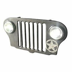 Jeep Grille Lighted Wall Art Willys Army Headlights - Wwii Silver