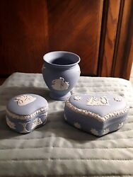 Lot Of 3 Wedgewood Jasperware Blue Collectable Pieces, 2 Trinket Boxes And 1 Vase