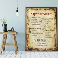 5 Types Of Witches Poster Kitchen Witchery Art Magic Knowledge Wall Decor Gift