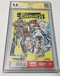 Punisher 1 Cgc 9.8 Ss Sketch By Jose Varese Signed By Danny Trejo And Stan Lee