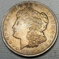 1921 Morgan Dollar-about Uncirculated Km 110-free Us Ship-golden Obverse Tone