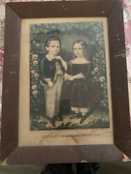 Currier And Ives Boy And Girl, Hand-colored Lithograph By Currier And Ives
